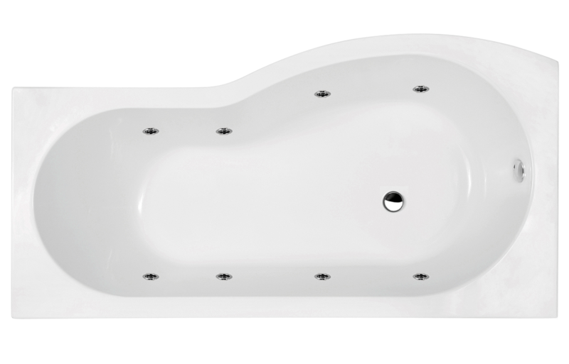 RH P Shaped Shower Bath with Jets